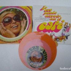Discos de vinilo: LO QUE PUEDE OCURRIR CON EL CAFE //LOTE 2 SINGLES + PEGATINA // SENSACIONAL SOUL PUBLICIDAD POP ART. Lote 136097662