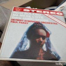 Discos de vinilo: RAVEL BOLERO MA MERE L'OYE CHABRIER BOURREE FANTASQUE PAUL PARAY MERCURY COLOMBIA LP T12 VG ESCASO. Lote 136144310