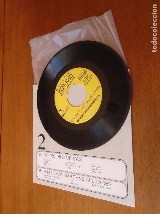 Discos de vinilo: SINGLE 45 AÑOS 80 VOCES HISTÓRICAS, HIMNOS Y MARCHAS MILITARES. HITLER. GOEBBELS. MUSSOLINI. CHURCHI - Foto 2 - 136164022