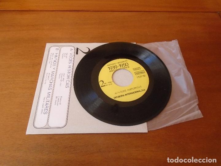 Discos de vinilo: SINGLE 45 AÑOS 80 VOCES HISTÓRICAS, HIMNOS Y MARCHAS MILITARES. HITLER. GOEBBELS. MUSSOLINI. CHURCHI - Foto 3 - 136164022