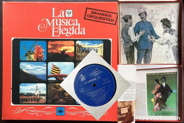 ESTUCHE 4 DISCOS VINILO LP ZARZULEA + LIBRO LA MÚSICA ELEGIDA GRANDES ORQUESTAS CBS 1982 (Música - Discos - Singles Vinilo - Clásica, Ópera, Zarzuela y Marchas)
