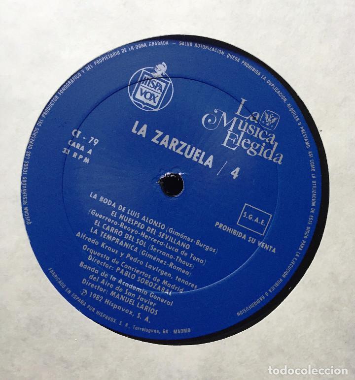 Discos de vinilo: Estuche 4 Discos Vinilo LP Zarzulea + Libro LA MÚSICA ELEGIDA Grandes Orquestas CBS 1982 - Foto 3 - 136183946