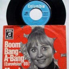 Discos de vinilo: LULU. BOOM BANG-A-BANG. SINGLE COLUMBIA 1C 006-04 053. GERMANY 1969. MARCH. EUROVISIÓN 1969.. Lote 136259046