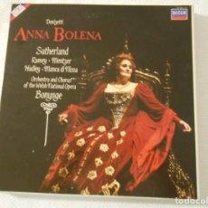 Discos de vinilo: ANNA BOLENA. DONIZETTI. SUTHERLAND, RAMEY, MENTZER, HADLEY, MANCA DI NISSA. ORCHESTRA AND CHORUS OF. Lote 136309838
