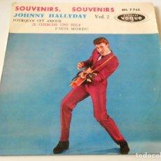 Discos de vinilo: JOHNNY HALLYDAY, EP, SOUVENIRS, SOUVENIRS + 3, AÑO 19?? MADE IN FRANCE. Lote 136419042