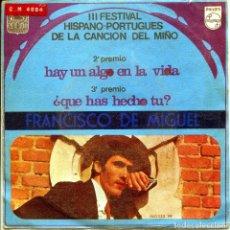 Discos de vinilo: FRANCISCO DE MIGUEL / HAY UN ALGO EN LA VIDA (III FESTIVAL HISPANO-PORTUGUES DE LA CANCION DEL MIÑO). Lote 136425830