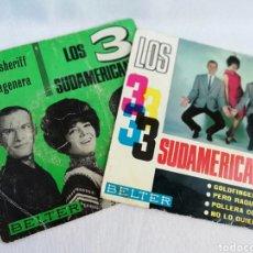 Discos de vinilo: LOS TRES SUDAMERICANOS. CARTAGENERA. 2 SINGLES.. Lote 136525920