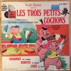 Discos de vinilo: WALT DISNEY LOS TRES CERDITOS EDIC FRANCIA CON CUENTO. Lote 136691398