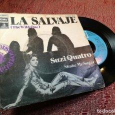 Discos de vinilo: SUZI QUATRO, SG, THE WILD ONE (LA SALVAJE) + 1, AÑO 1974. Lote 136745202