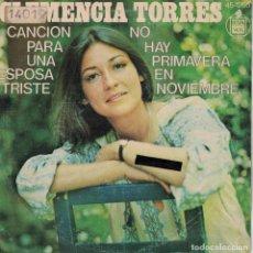 Discos de vinilo: CLEMENCIA TORRES - CANCION PARA UNA ESPOSA TRISTE / NO HAY PRIMAVERA EN NOVIEMBRE. Lote 136799610