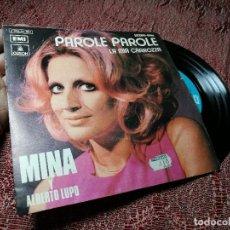 Discos de vinilo: MINA Y ALBERTO LUPO - PAROLE PAROLE / LA MIA CARROZA - SINGLE. Lote 136809490