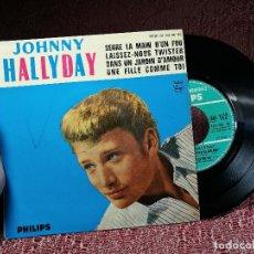Discos de vinilo: JOHNNY HALLYDAY – SERRE LA MAIN D'UN FOU + 3 EP. Lote 136811518