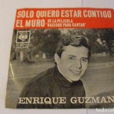 Discos de vinilo: LOTE SINGLE ENRIQUE GUZMAN EL MURO SOLO QUIERO ESTAR CONTIGO SELLO CBS ED ARGENTINA. Lote 136818654