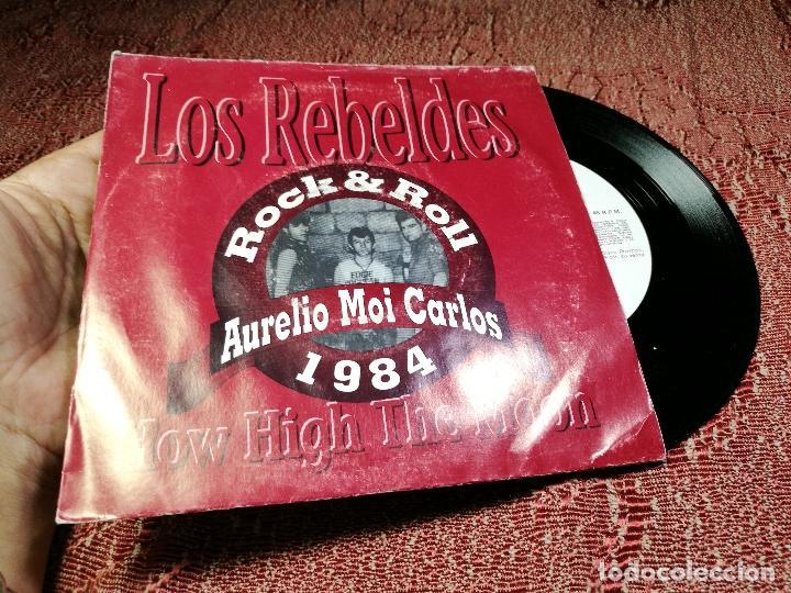 Discos de vinilo: Rebeldes. How High the Moon. Aurelio Moi Carlos 1984 Uranita Spain 1991 (single s/sided promocional) - Foto 2 - 136896266