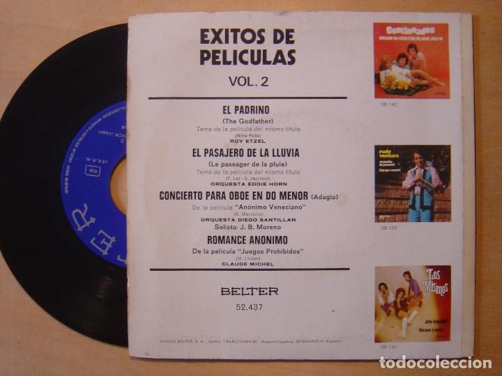 Discos de vinilo: V.A EXITOS DE PELICULAS Vol 2 - EP 1972 - BELTER - Foto 2 - 137104650