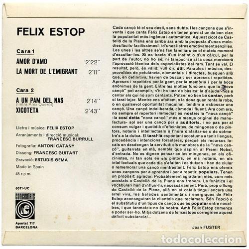 Discos de vinilo: FÈLIX ESTOP - Amor damo + 3 Canciones - EP (Concèntric, 1968) NUEVO A ESTRENAR - Foto 2 - 137153782
