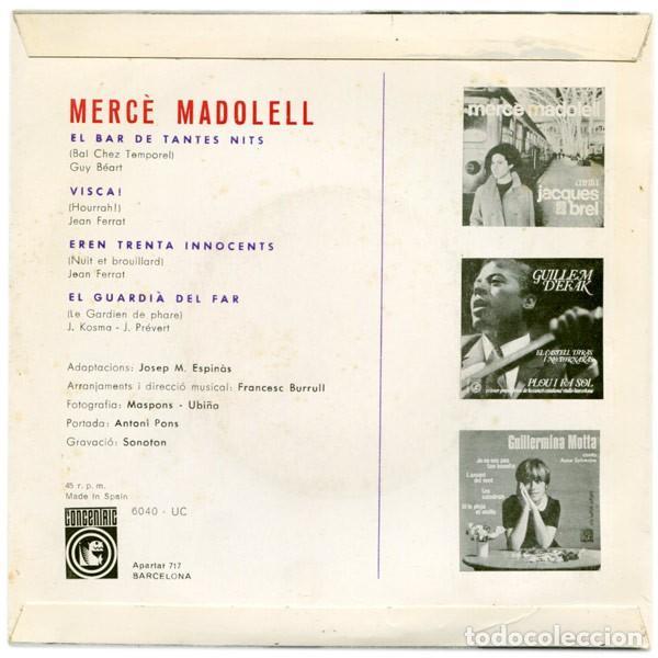 Discos de vinilo: MERCÈ MADOLELL - El Bar de Tantes Nits + 3 Canciones - EP (Concèntric, 1966) NUEVO A ESTRENAR - Foto 2 - 137154770