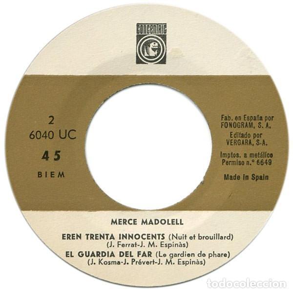 Discos de vinilo: MERCÈ MADOLELL - El Bar de Tantes Nits + 3 Canciones - EP (Concèntric, 1966) NUEVO A ESTRENAR - Foto 4 - 137154770