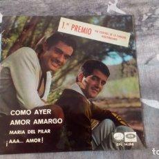 Discos de vinilo: DÚO DINÁMICO – COMO AYER / AMOR AMARGO - EPL 14.295 - 1966. Lote 137257910