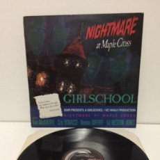Discos de vinilo: GIRLSCHOOL - NIGHTMARE AT MAPLE CROSS - 1986 GWR RECORDS. Lote 137281202