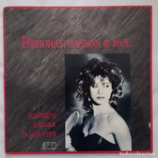 Discos de vinilo: MAXI / DEBORAH SASSON & MCL CARMEN DANGER IN HER EYES / CAPITOL RECORDS ?– V-15474 / 1989 / USA. Lote 137281362