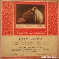 Discos de vinilo: BEETHOVEN, VIOLÍN JASCHA HEIFETZ, ORQUESTA SINFÓNICA RCA VÍCTOR – ROMANZA N.º 1 EN SOL MAYOR. OP.40. Lote 137418462