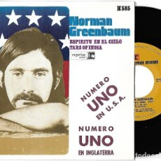 Discos de vinilo: NORMAN GREENBAUM: ESPÍRITU EN EL CIELO (SPIRIT IN THE SKY) / TARS OF INDIA. Lote 137436709
