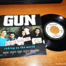 Discos de vinilo: GUN TAKING ON THE WORLD SINGLE VINILO PROMO 40 PRINCIPALES 1989 ESPAÑA MISMO TEMA MUY RARO. Lote 137441702