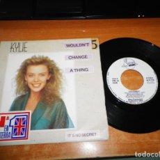 Discos de vinilo: KYLIE MINOGUE WOULDN´T CHANGE A THING / IT´S NO SECRET SINGLE VINILO PROMO 1989 ESPAÑA 2 TEMAS. Lote 137449254