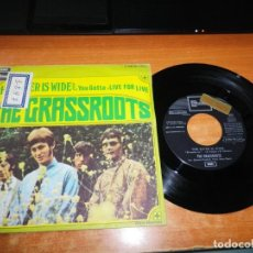 Discos de vinilo: THE GRASSROOTS THE RIVER IS WIDE / LIVE FOR LOVE SINGLE VINILO PROMO DEL AÑO 1969 CONTIENE 2 TEMAS. Lote 137450146