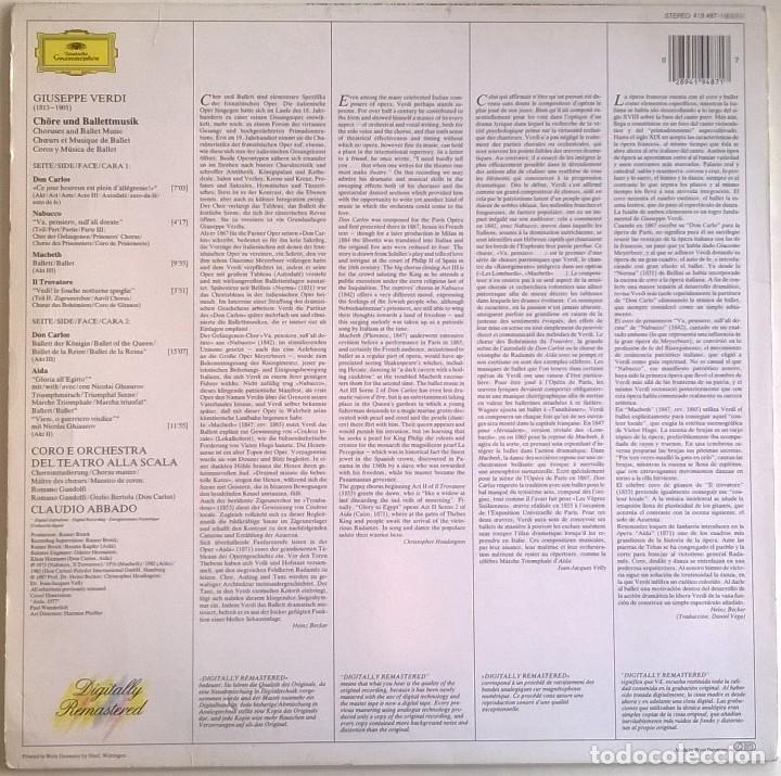Discos de vinilo: Giuseppe Verdi, Chorus And Orchestra Of La Scala, Milan, Claudio Abbado-Choruses And Ballet Music - Foto 2 - 158978985