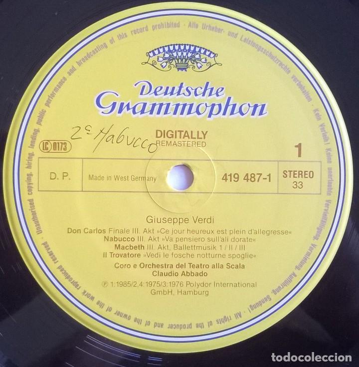 Discos de vinilo: Giuseppe Verdi, Chorus And Orchestra Of La Scala, Milan, Claudio Abbado-Choruses And Ballet Music - Foto 3 - 158978985