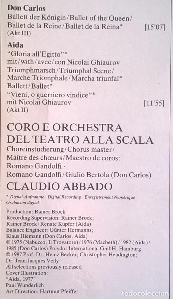 Discos de vinilo: Giuseppe Verdi, Chorus And Orchestra Of La Scala, Milan, Claudio Abbado-Choruses And Ballet Music - Foto 5 - 158978985