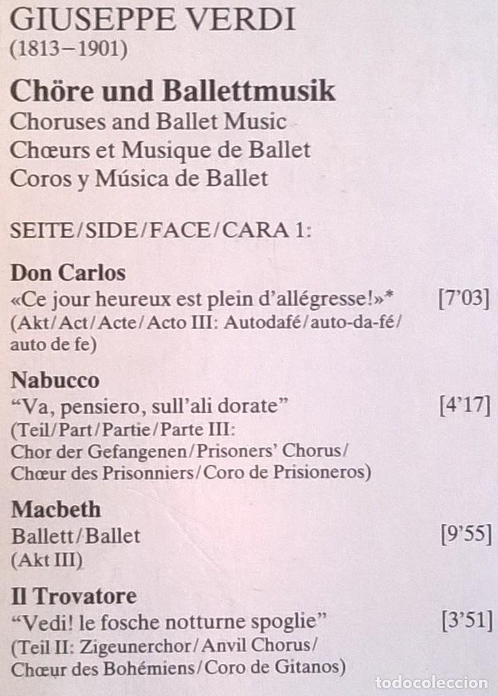 Discos de vinilo: Giuseppe Verdi, Chorus And Orchestra Of La Scala, Milan, Claudio Abbado-Choruses And Ballet Music - Foto 6 - 158978985