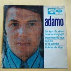 Discos de vinilo: EP ADAMO - J' AI TANT DE REVES DANS MES BAGAGES. Lote 137548086