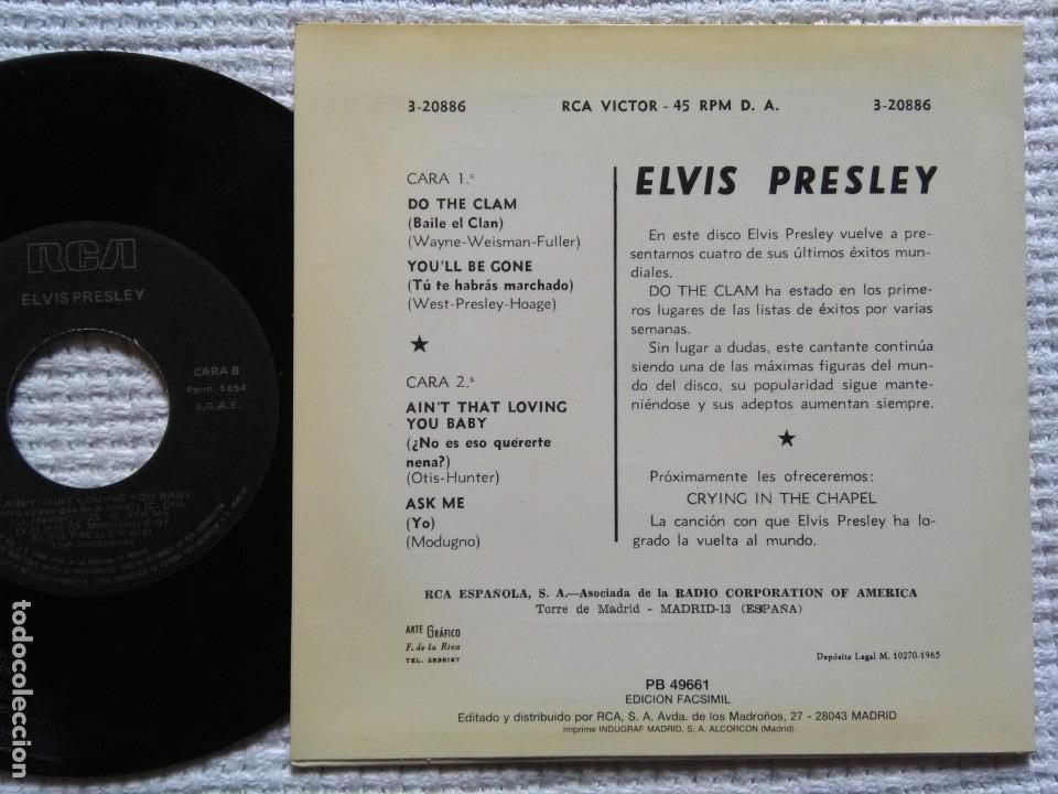 Discos de vinilo: ELVIS PRESLEY DO THE CLAM + 3 EP 7 REISSUE SPAIN 1987 - Foto 2 - 137770242