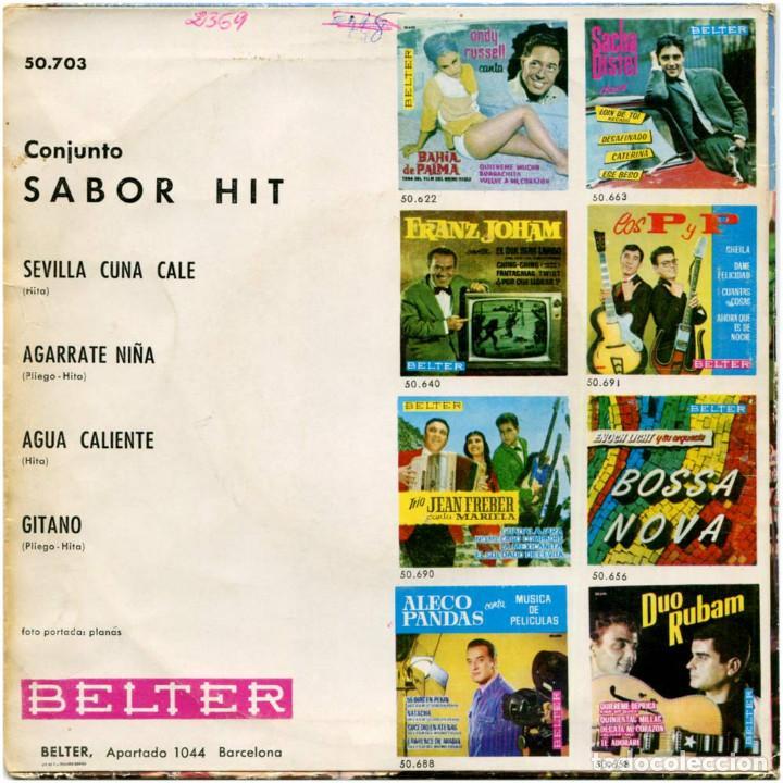 Discos de vinilo: Conjunto Sabor Hit - Sevilla cuna calé - Ep Spain 1963 - Belter 50.703 - Foto 2 - 137775910