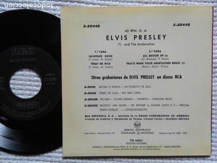 Discos de vinilo: ELVIS PRESLEY JAILHOUSE ROCK + 3 EP 7 REISSUE SPAIN 1987 - Foto 2 - 137814238