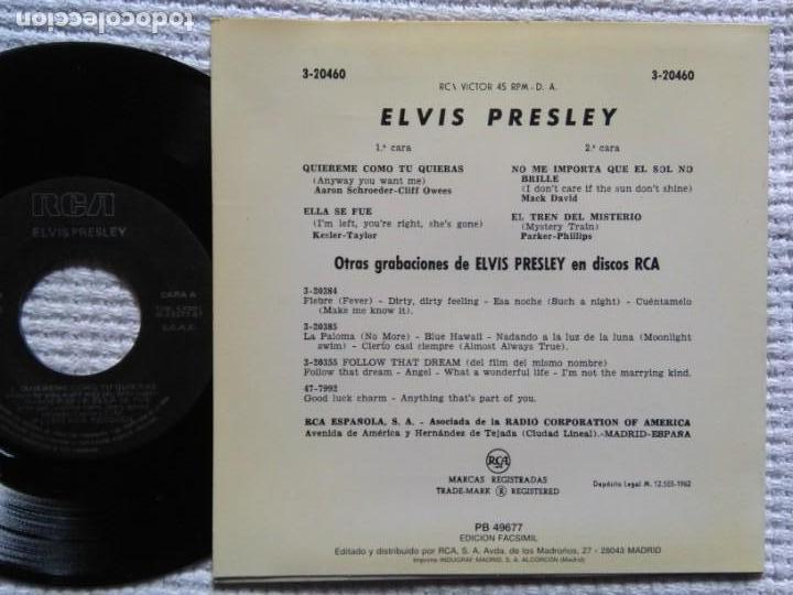 Discos de vinilo: ELVIS PRESLEY QUIEREME COMO TU QUIERAS EP 7 REISSUE SPAIN 1987 - Foto 2 - 137816714