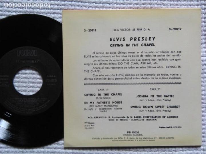 Discos de vinilo: ELVIS PRESLEY CRYING IN THE CHAPEL EP 7 REISSUE SPAIN 1987 - Foto 2 - 137819042