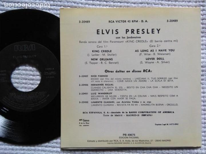 Discos de vinilo: ELVIS PRESLEY KING CREOLE + 3 EP 7 REISSUE SPAIN 1987 - Foto 2 - 137819922