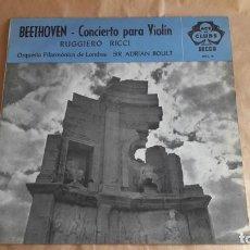 Discos de vinilo: BEETHOVEN. CONCIERTO PARA VIOLÍN. RUGGIERO RICCI & ADRIAN BOULT (DECCA 1968). Lote 137829466