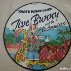 Discos de vinilo: JIVE BUNNY AND THE MASTERMIXERS_THAT'S WHAT I LIKE_VINYL, 12''UK EDITION_MIXED, PICTURE DISC_1989. Lote 137879326