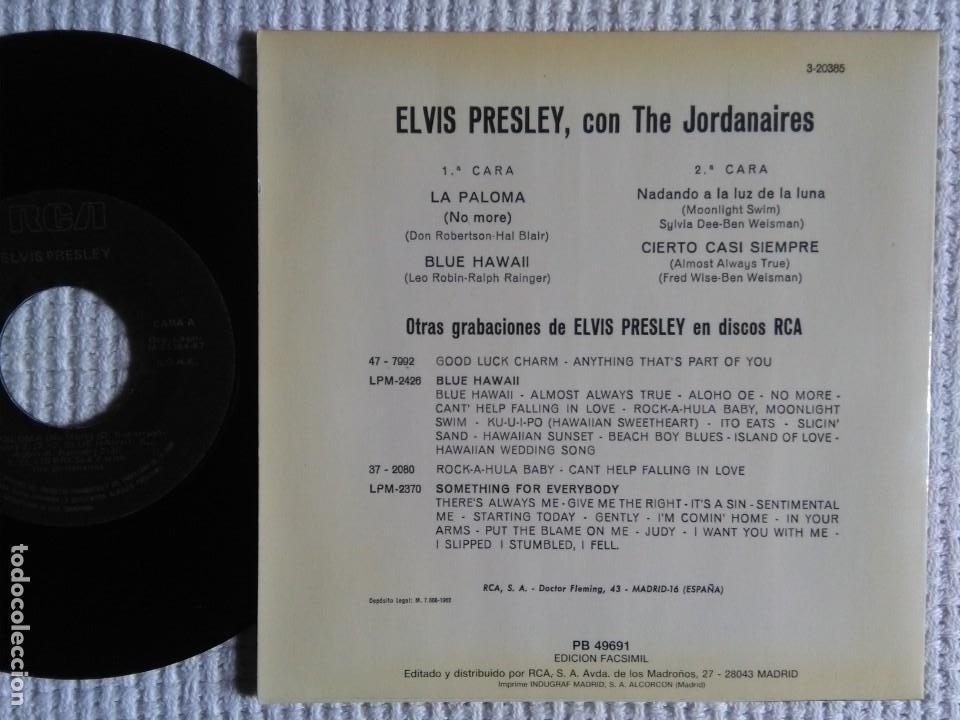 Discos de vinilo: ELVIS PRESLEY WITH THE JORDANAIRES LA PALOMA + 3 EP 7 REISSUE SPAIN 1987 - Foto 2 - 137891290