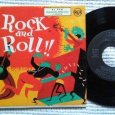 Discos de vinilo: ELVIS PRESLEY PEREZ PRADO CHET ATKINS - '' ¡¡ROCK AND ROLL!! '' EP 7'' REISSUE SPAIN 1987. Lote 137898034
