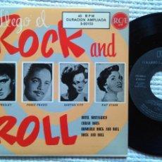 Discos de vinilo: ELVIS PRESLEY PEREZ PRADO EARTHA KITT - '' ¡¡LLEGO EL ROCK AND ROLL!! '' EP 7'' REISSUE SPAIN 1987. Lote 137898666