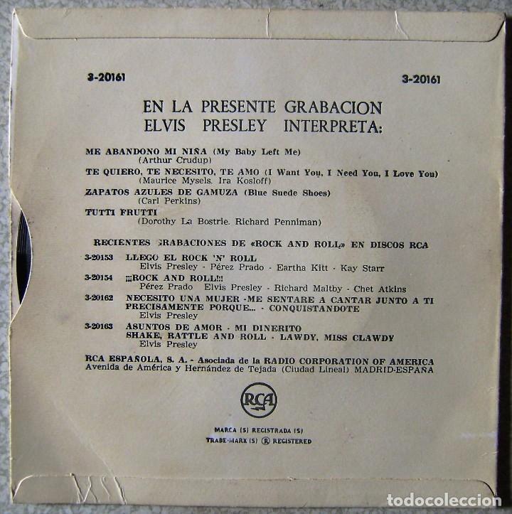 Vinyl-Schallplatten: ELVIS PRESLEY Y EL ROCK AND ROLL.ME ABANDONO MI NIÑA + 3.1ª EDICION ESPAÑOLA..EX. - Foto 2 - 137902094