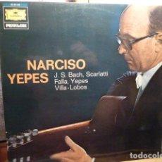 Discos de vinilo: NARCISO YEPES -GUITARRA CLASICA-J.S .BACH ,SCARLETTI ,FALLA ,VILLALOBOS ,. Lote 138077638