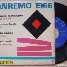Discos de vinilo: VARIOS - SAN REMO 1966 - EP 1966 - BELTER / DOMENICO MODUGNO / ANNA MARCHETTI / GIORGIO GABER. Lote 138567918