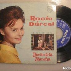 Discos de vinilo: DISCO SINGLE ROCIO DURCAL EN PELICULA ROCIO DE LA MANCHA. Lote 138578318
